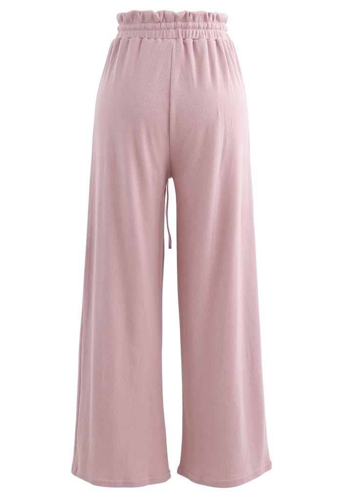 Drawstring Paper-Bag Waist Ribbed Yoga Pants in Pink