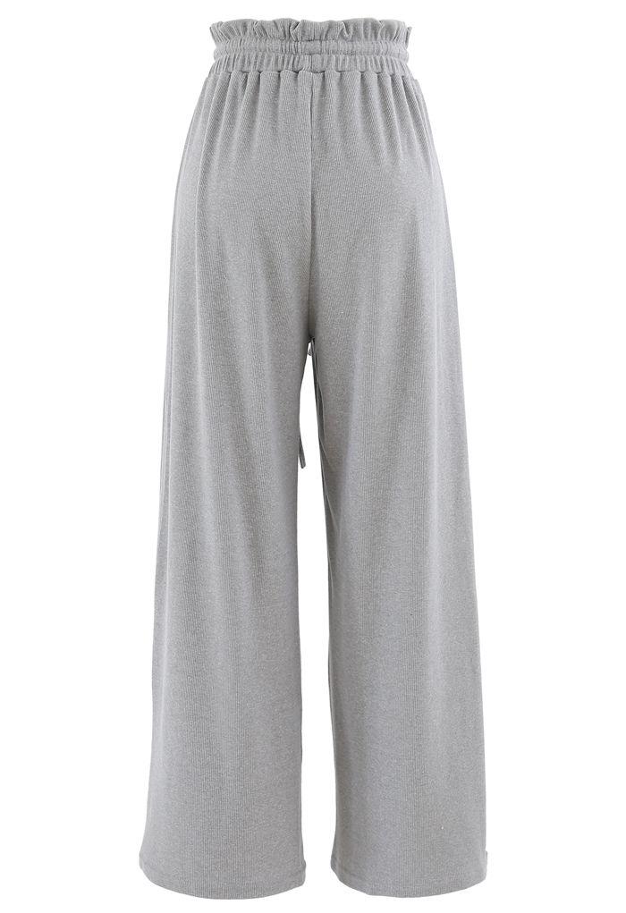 Drawstring Paper-Bag Waist Ribbed Yoga Pants in Grey