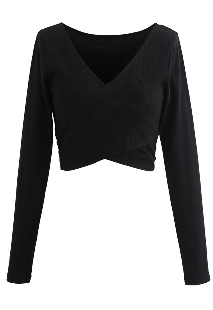 Crisscross Front Long Sleeves Ribbed Top in Black
