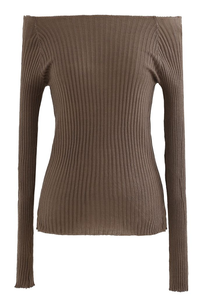 Fitted Off-Shoulder Ribbed Knit Top in Brown
