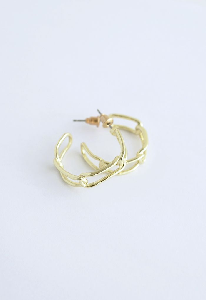Gold Clip Circle Earrings