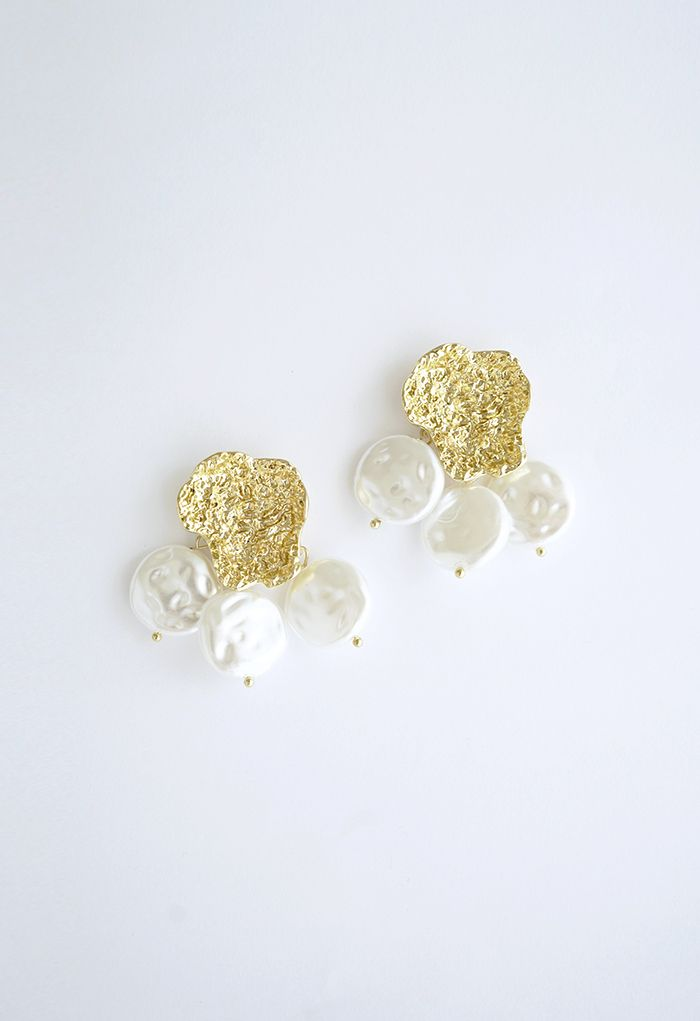 Golden Petal Coin Pearls Drop Earrings
