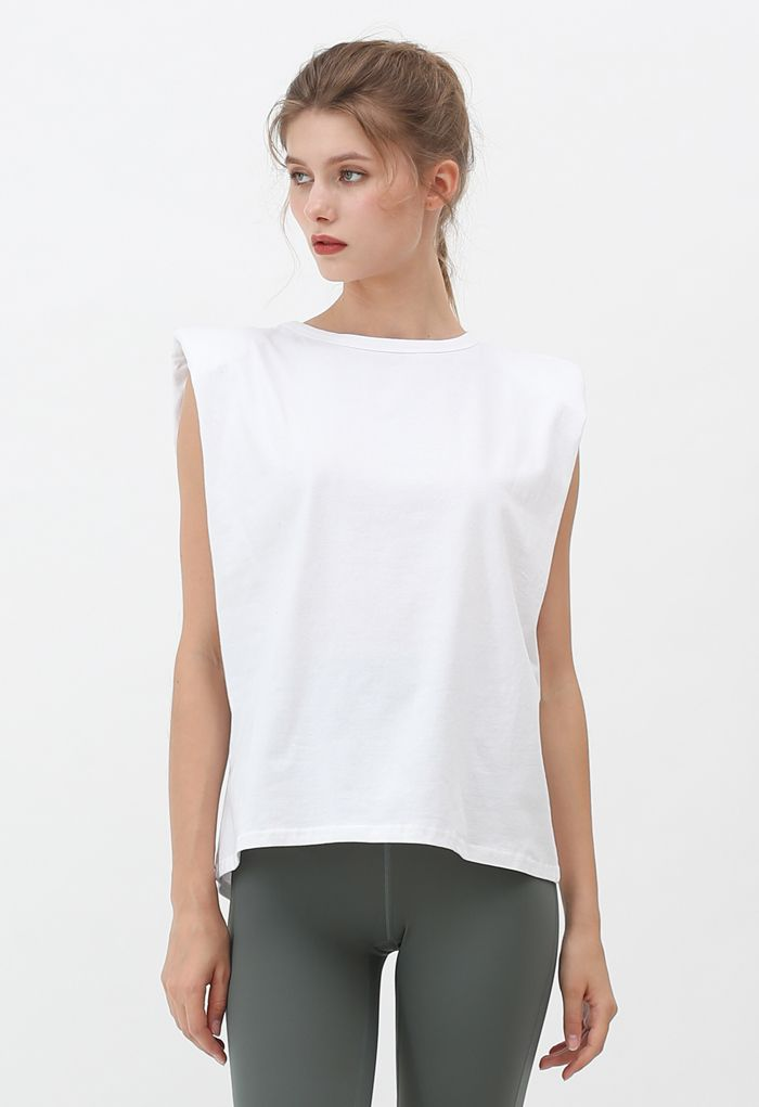 Padded Shoulder Sleeveless Top in White