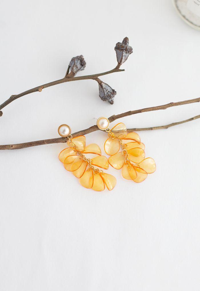 Pearl with Plastic Petal Drop Earrings in Orange