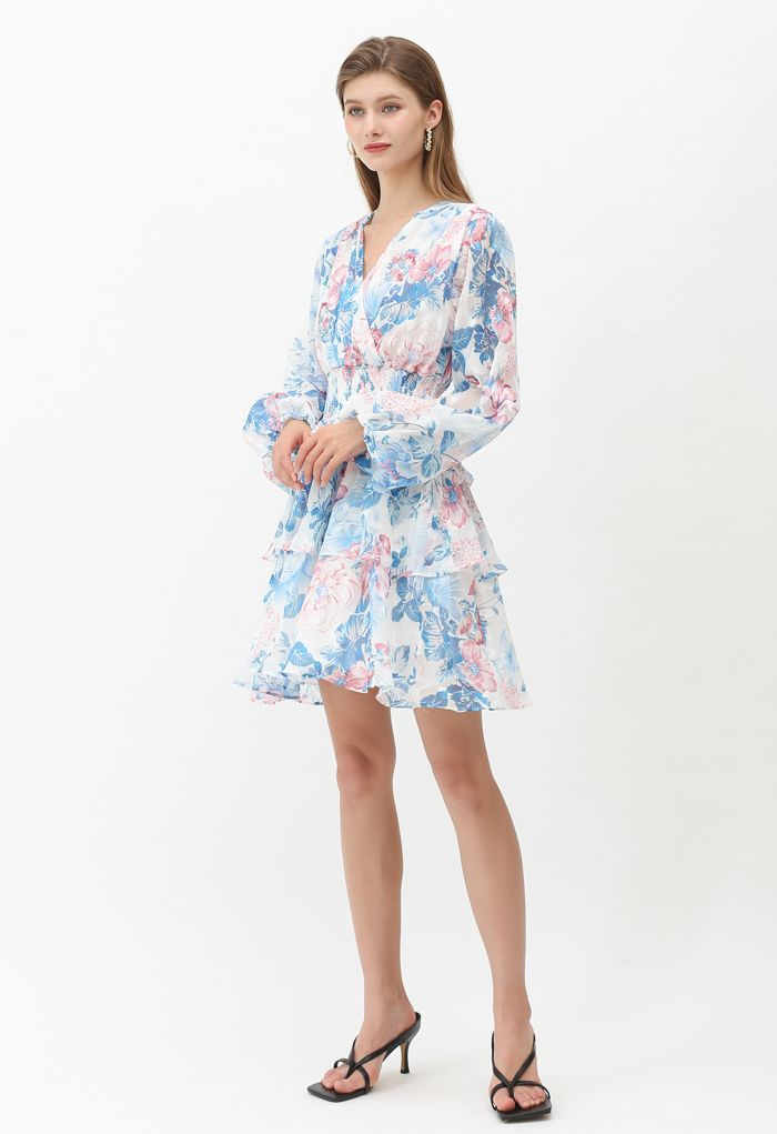 Jacquard Bloom Wrap Tiered Sheer Dress in White