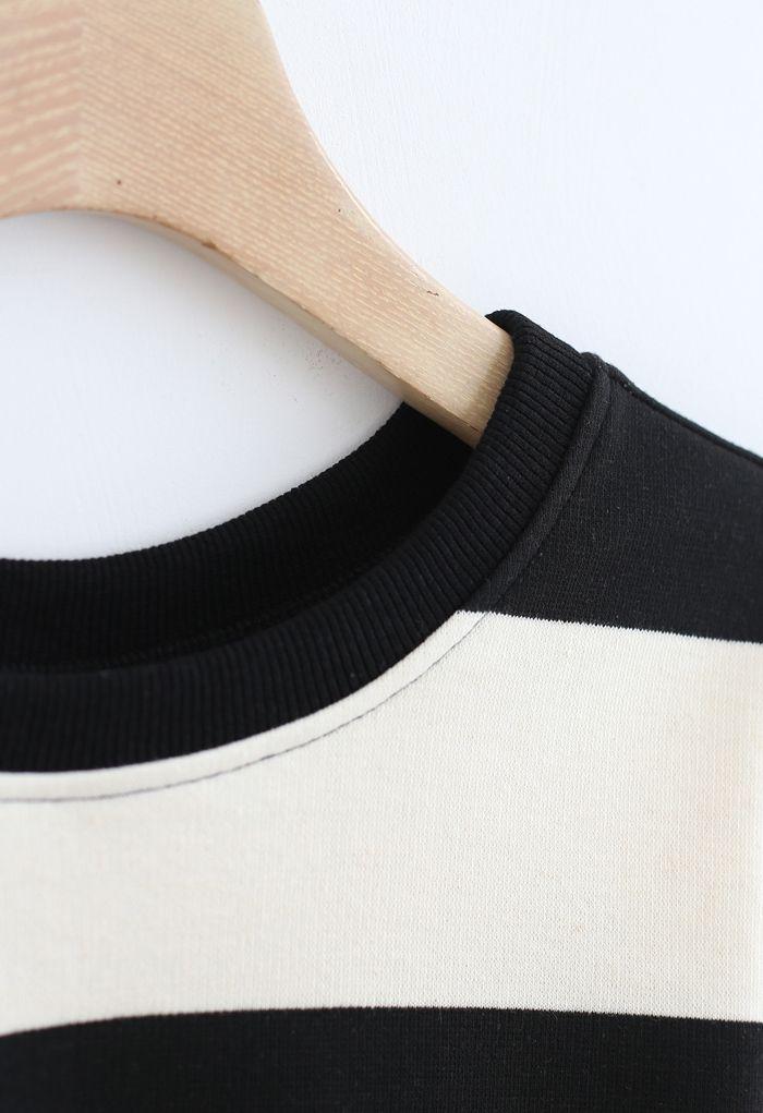 Black and White Stripes Cropped Sweatshirt