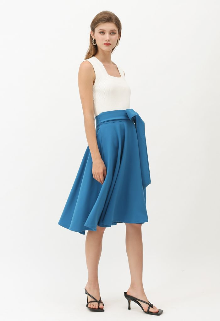 Flare Hem Bowknot Waist Midi Skirt in Peacock Blue