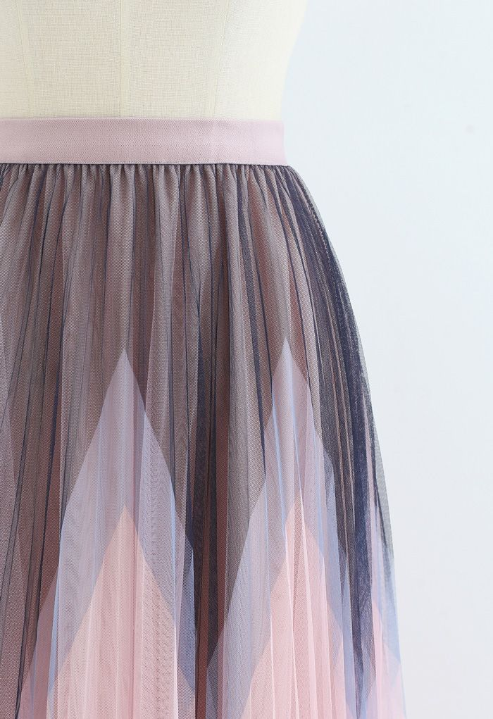 Zigzag Double-Layered Pleated Tulle Midi Skirt in Pink