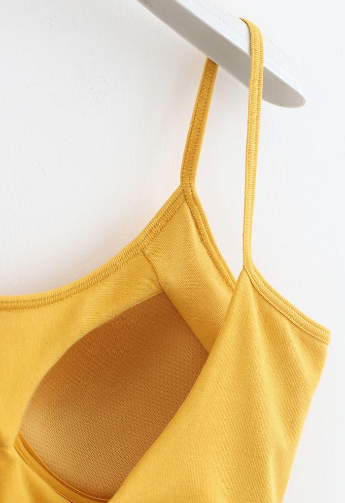 Twist Back Cami Bra Top in Mustard