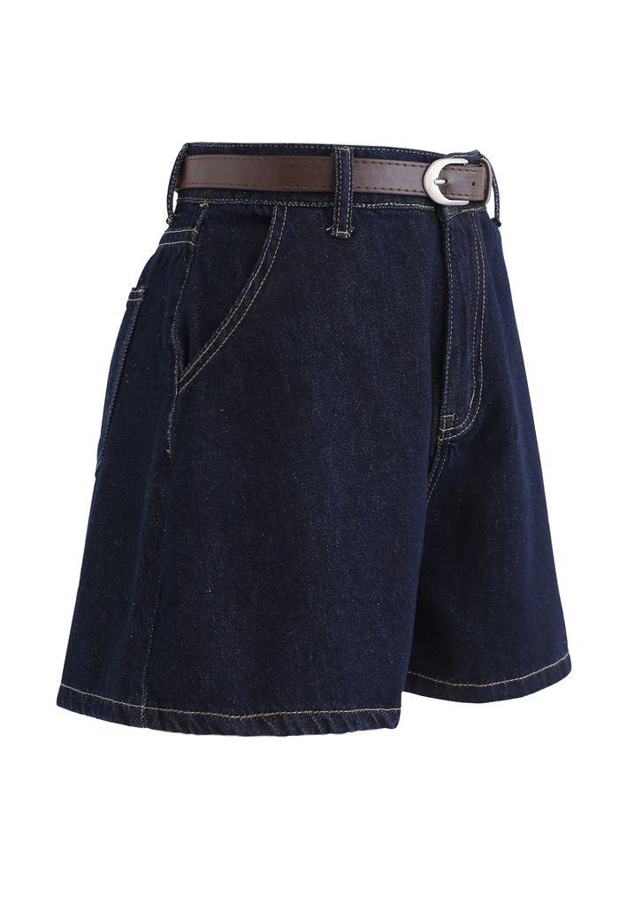 Navy Denim High-Waist Mom Shorts with Belt