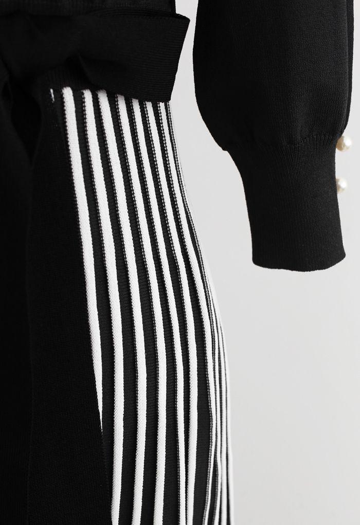 Radiant Lines V-Neck Bowknot Knit Dress in Black