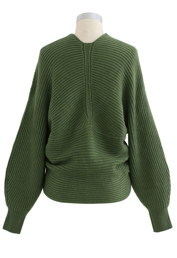 Crisscross Ribbed Knit Crop Sweater in Army Green