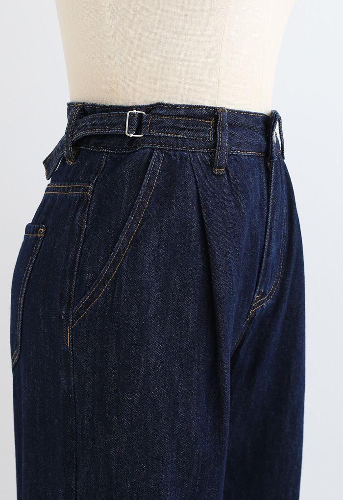 Belted Wide-Leg Pocket Jeans in Navy