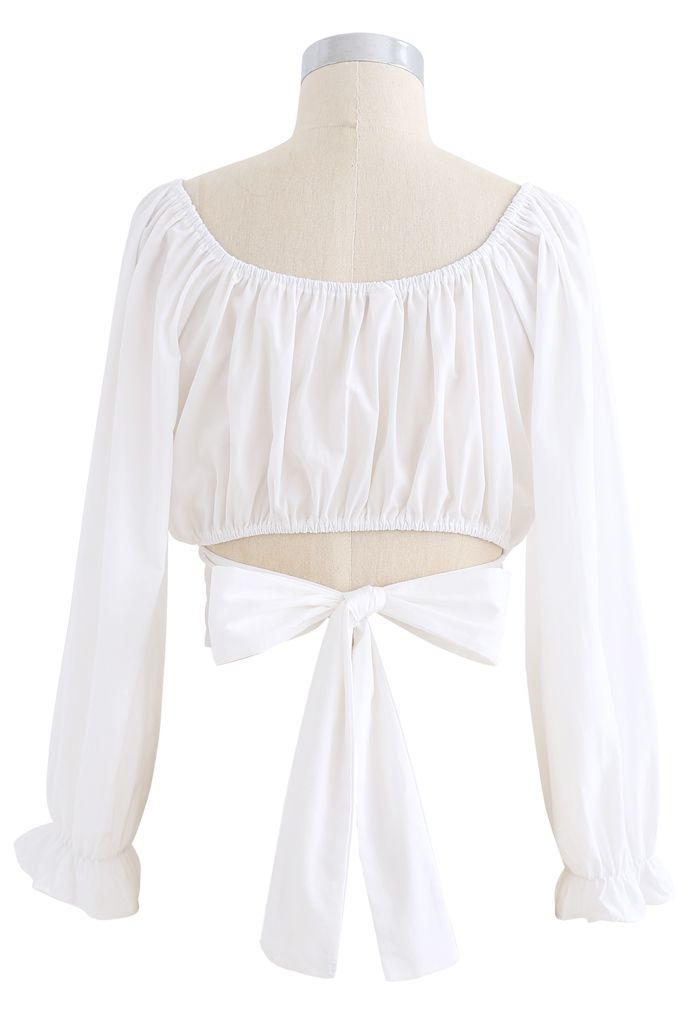 Bow Tie Back Cropped Top in White