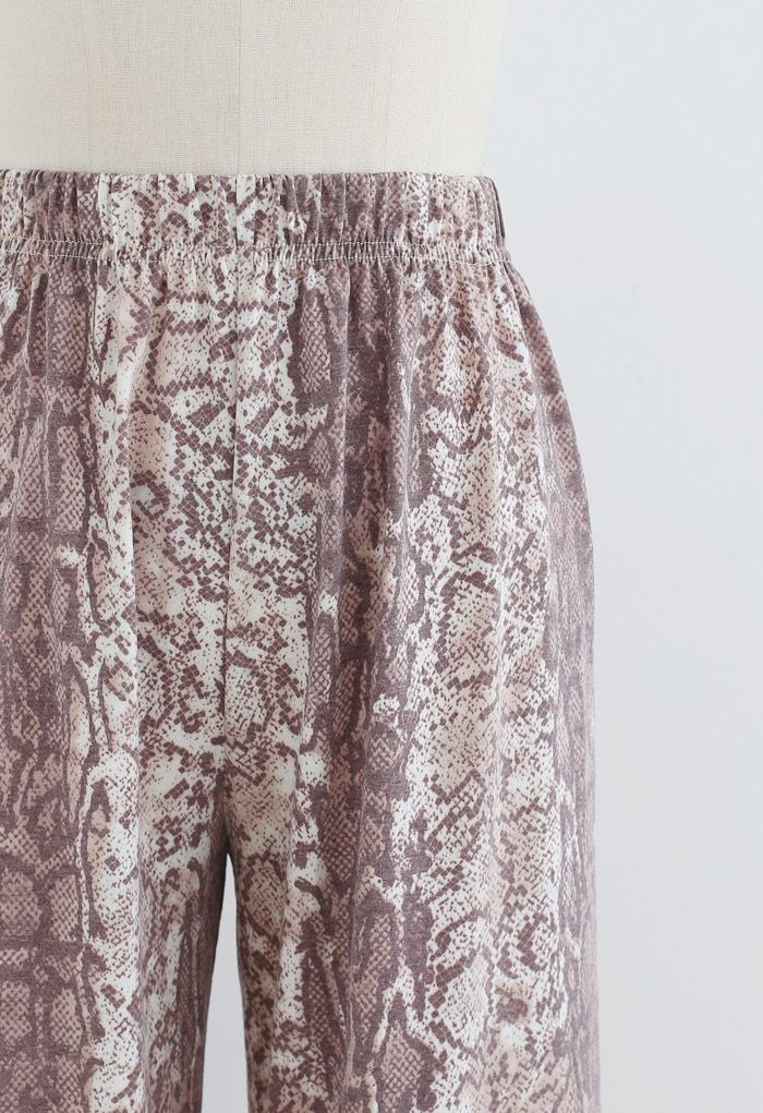 Snake Print Wide-Leg Pants in Brown