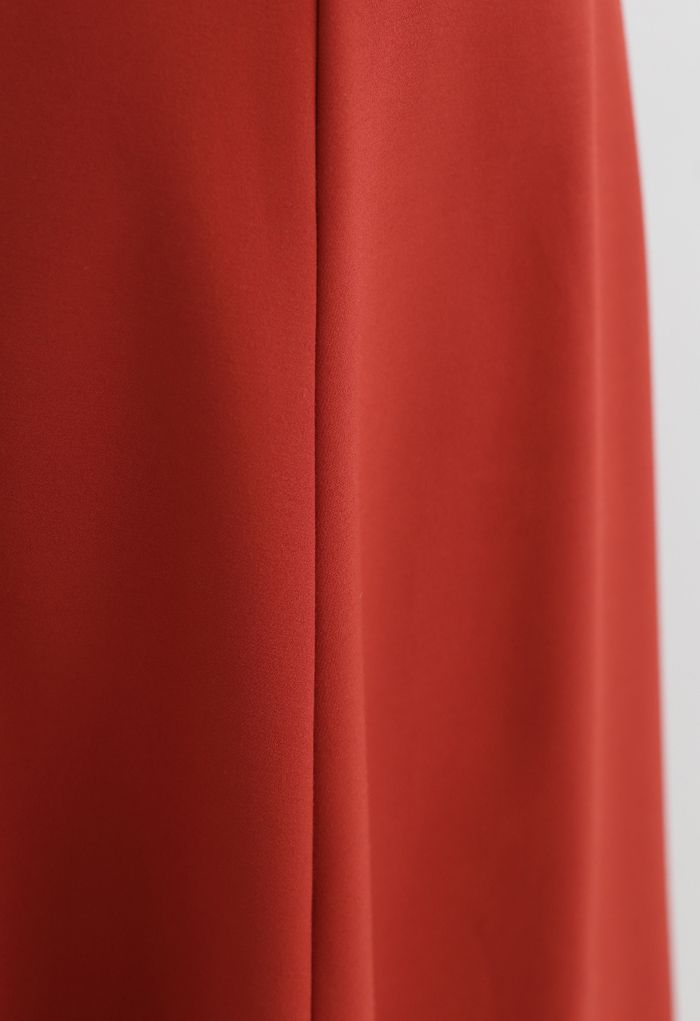 Seam Detail Flare Hem Midi Skirt in Red
