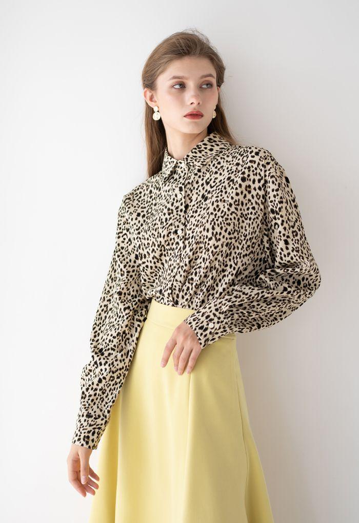 Leopard Print Button Down Hi-Lo Shirt