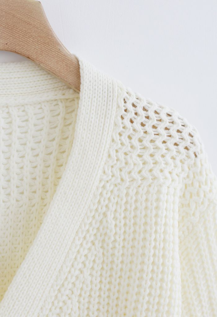 Wrap Bowknot Chunky Knit Sweater in White