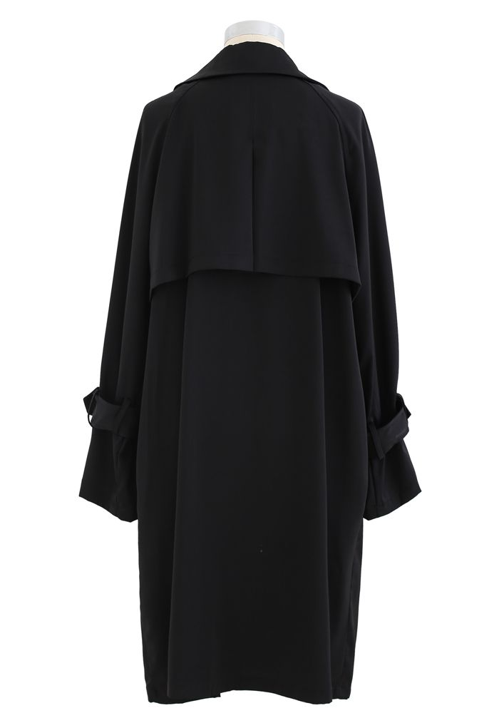 Belted Double-Breasted Chiffon Trench Coat in Black