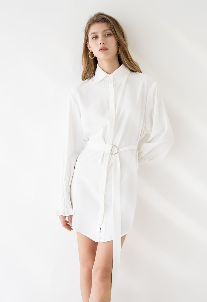 Belted Button Down Hi-Lo Shirt Dress in White