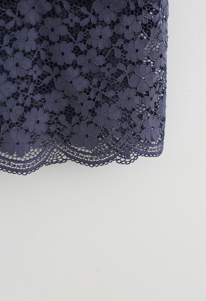 Lace Crop Tank Top in Navy