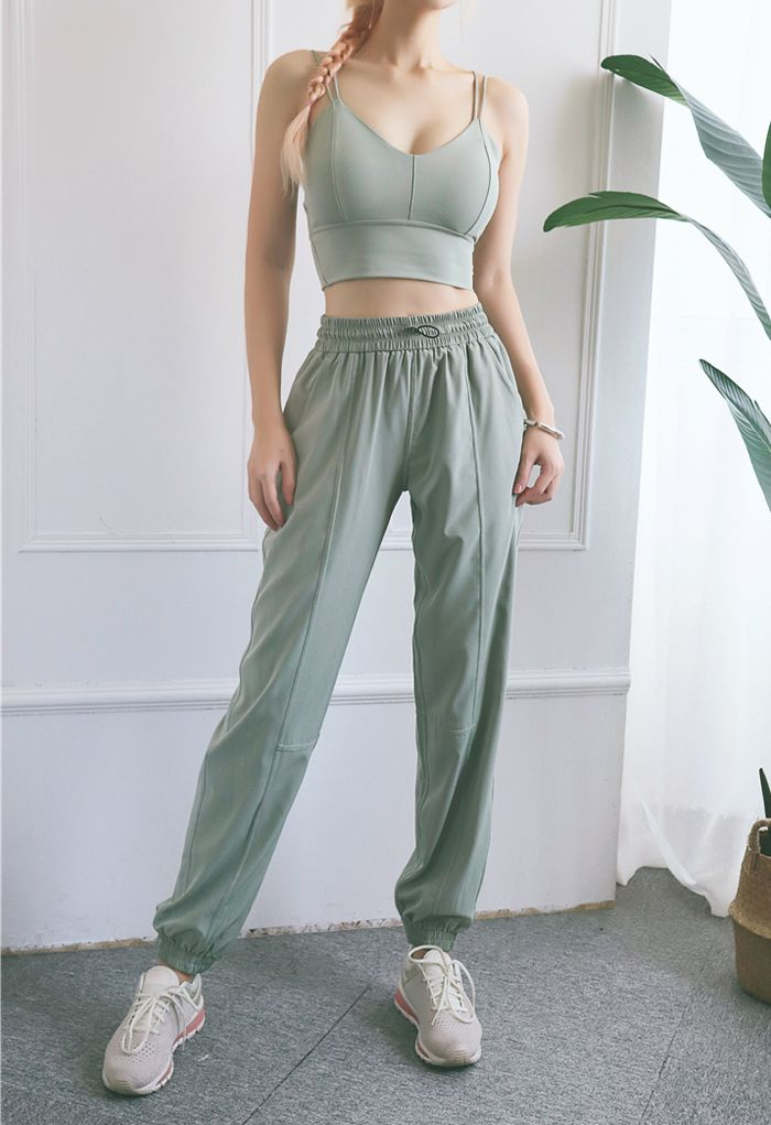 Drawstring Pockets Tapered Joggers in Mist Green