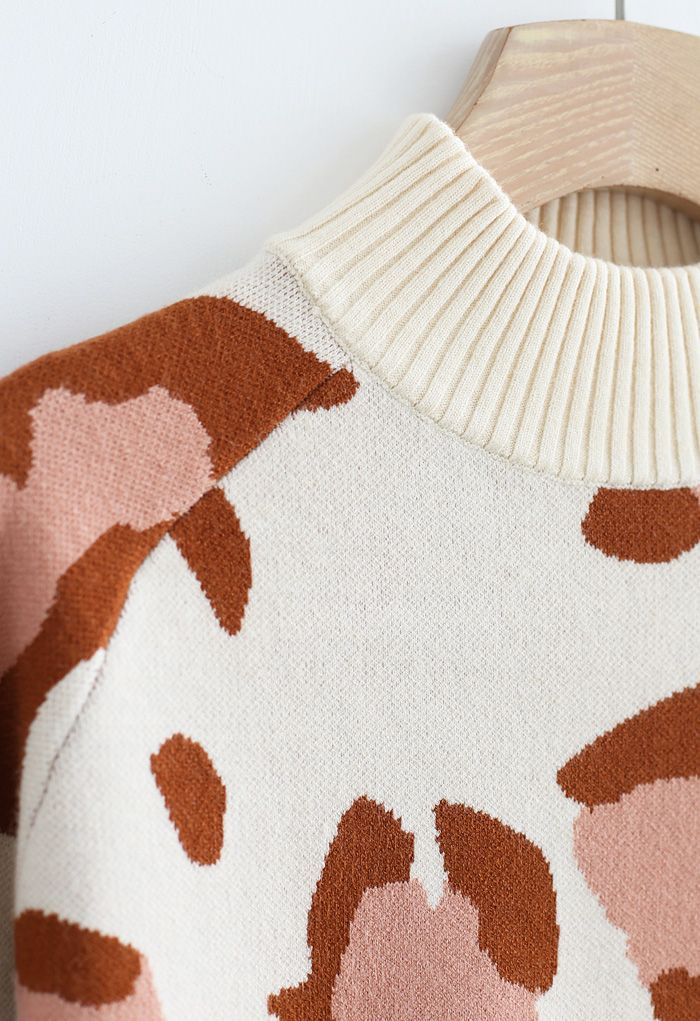 High Neck Irregular Print Ribbed Knit Sweater in Cream