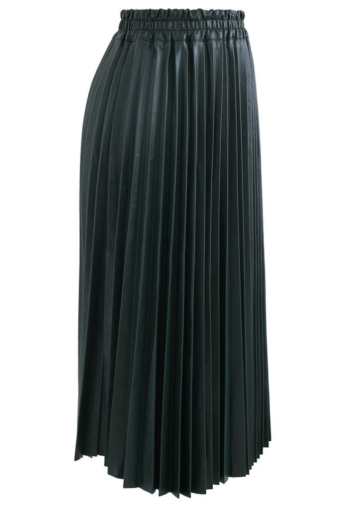 Faux Leather Pleated A-Line Midi Skirt in Dark Green