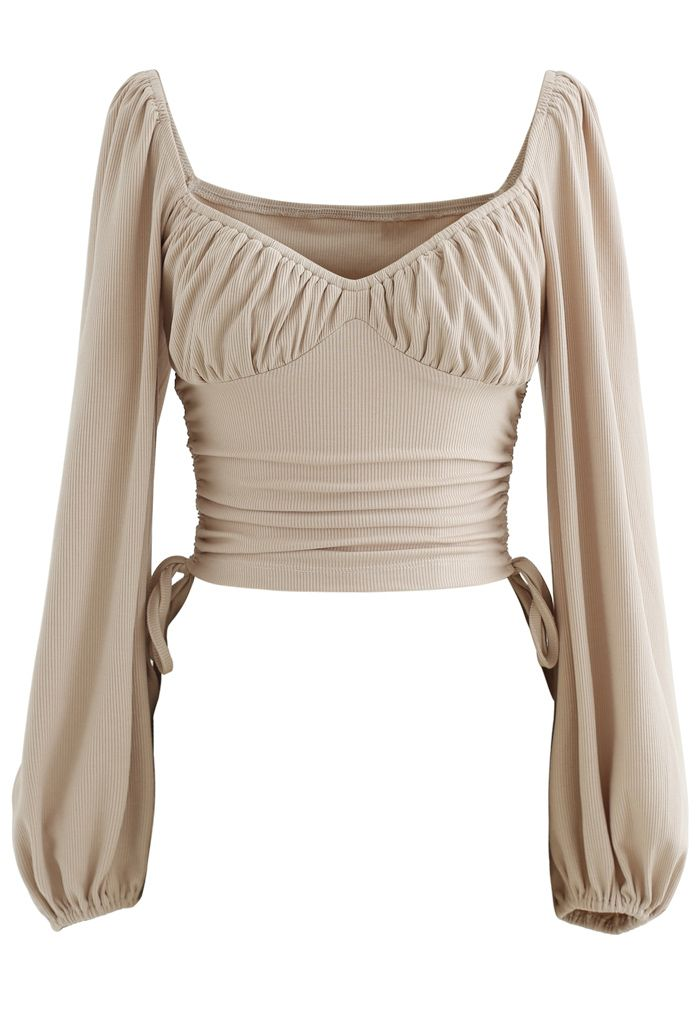 Side Drawstring Sweetheart Neck Crop Top in Tan