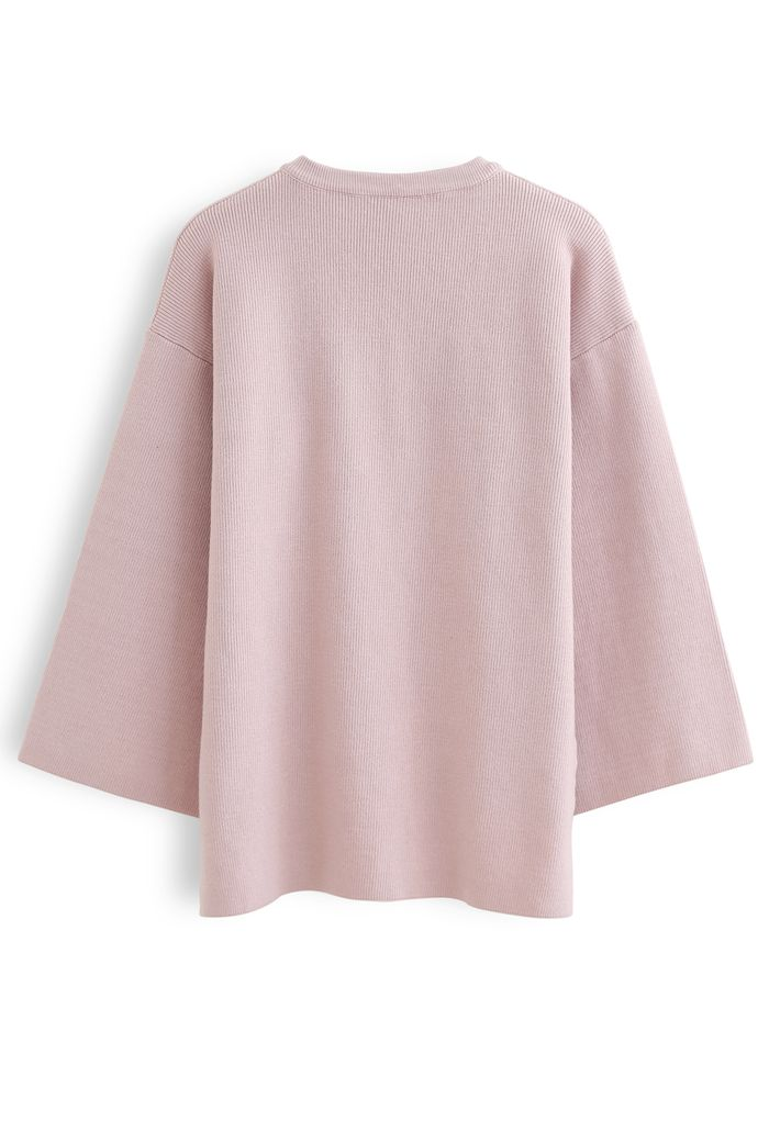 Buttoned Flare Sleeves Knit Sweater in Pink