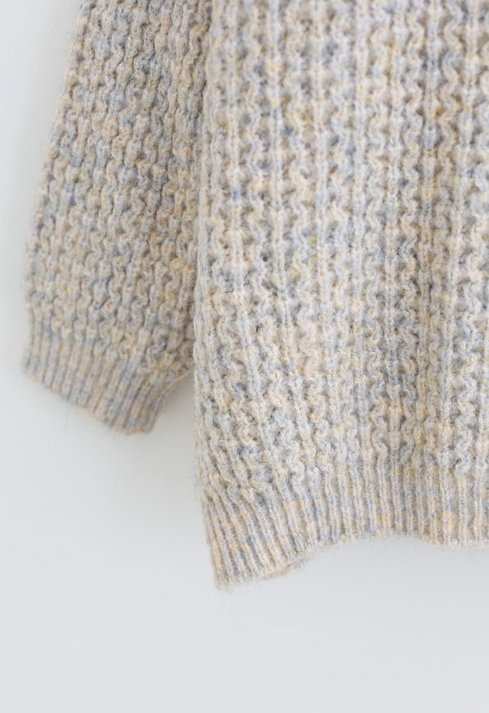 Fluffy Waffle-Knit Sweater in Ivory