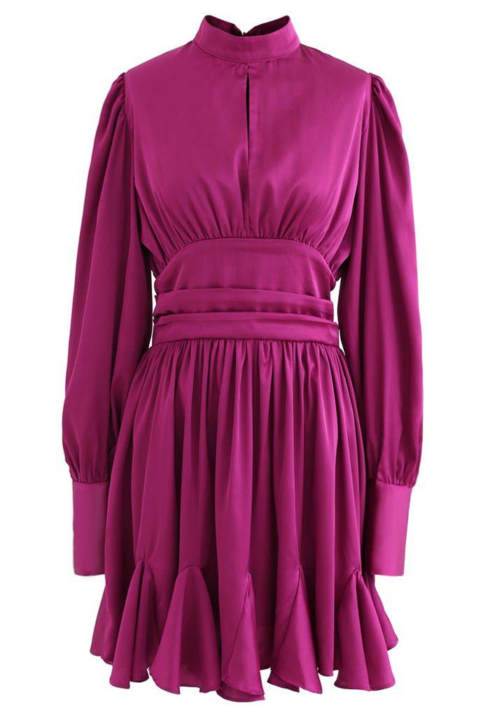 High Neck Puff Sleeves Satin Ruffle Dress in Magenta