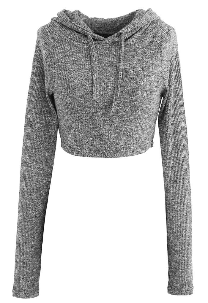 Knit Hooded Crop Top and Leggings Set in Grey