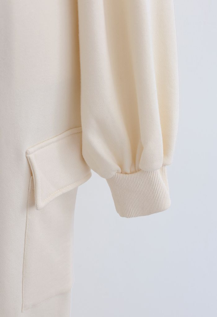 Cropped Sweatshirt and Drawstring Pockets Joggers Set in Cream