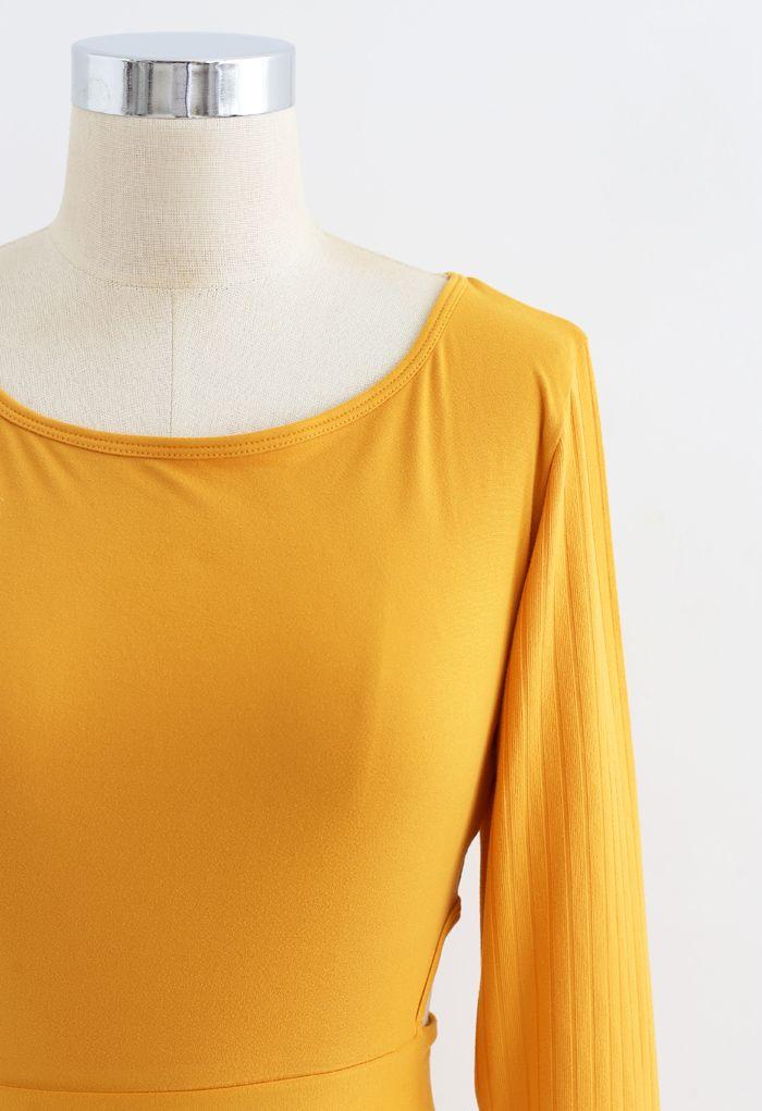 Self-Tie Waist Long Sleeves Cropped Sports Top in Orange