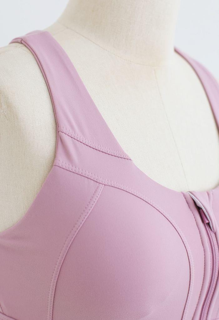 Cross Back Zipper Front Panelled Sports Bra in Pink