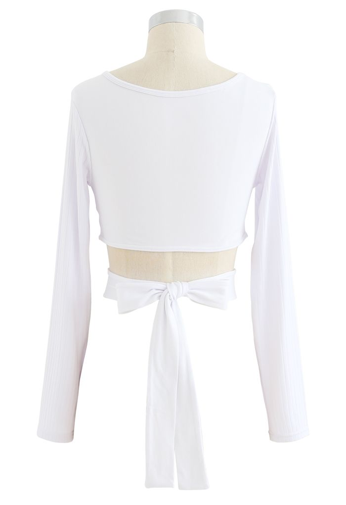 Self-Tie Waist Long Sleeves Cropped Sports Top in White