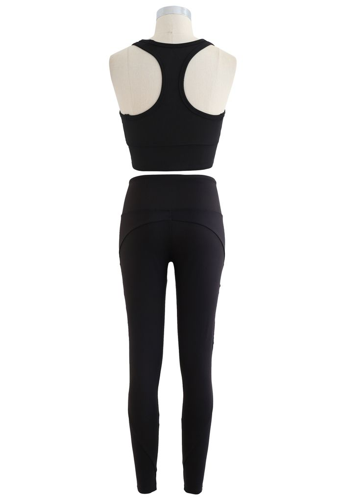 Mesh Panel Lace-Up Cropped Sports Bra and Leggings Set in Black
