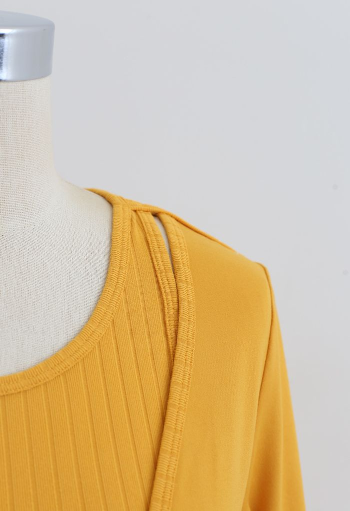 Fake Two-Piece Sleeves Cropped Sports Top in Orange