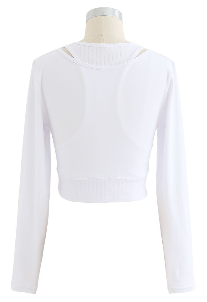 Fake Two-Piece Sleeves Cropped Sports Top in White