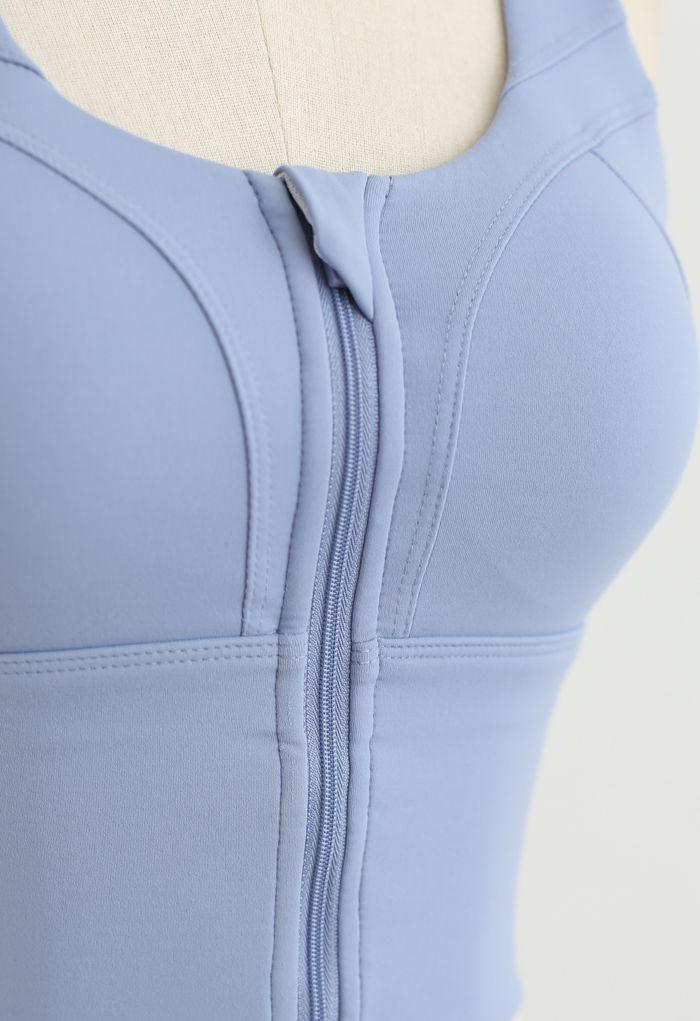 Cross Back Zipper Front Panelled Sports Bra in Lavender