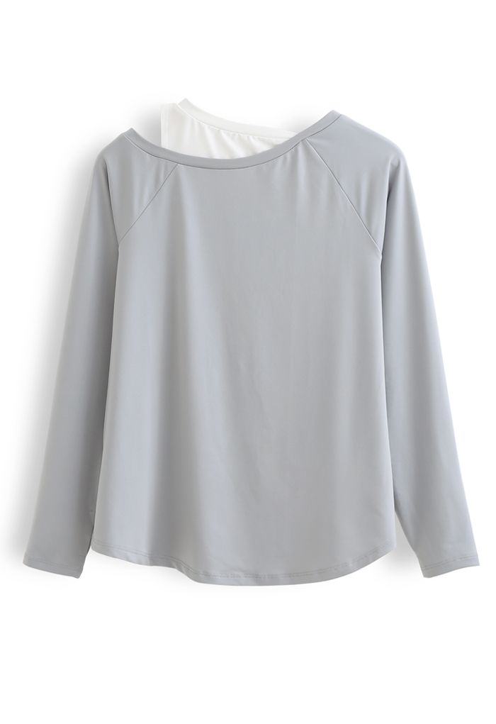 Cold Shoulder Fake Two-Piece Sports Top in Grey