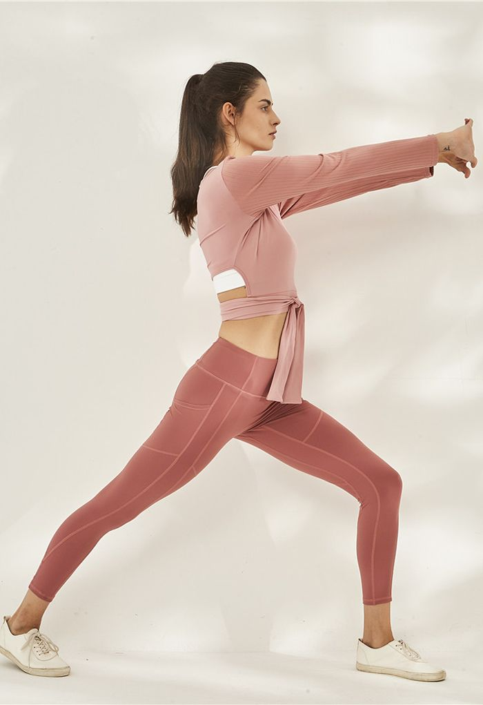 Self-Tie Waist Long Sleeves Cropped Sports Top in Pink