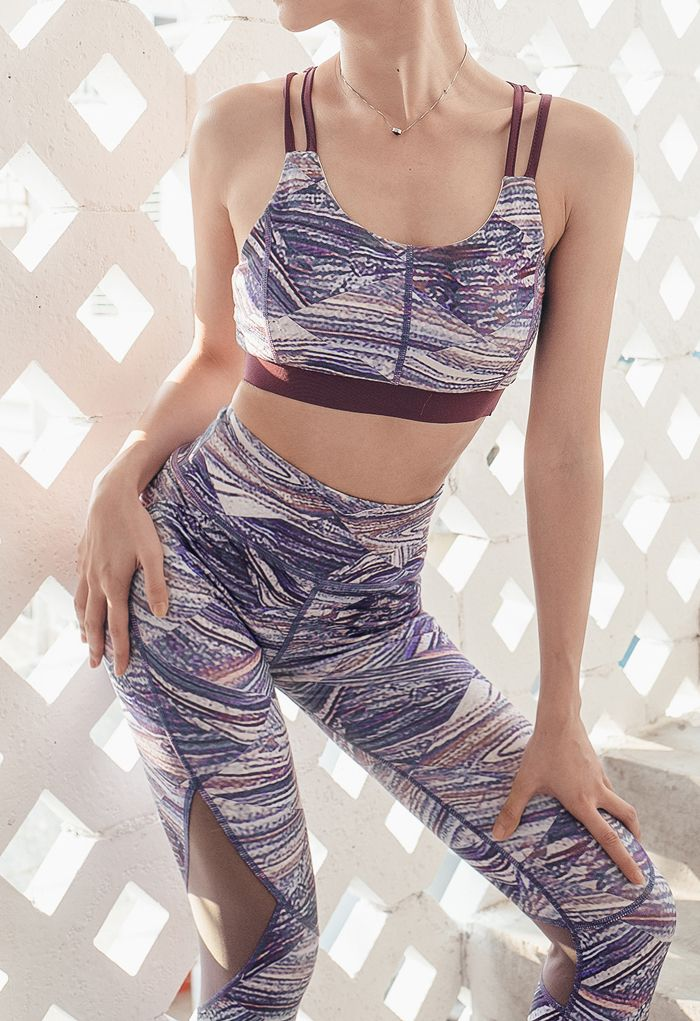 Multi-Color Lace-Up Sports Bra and Mesh Spliced Leggings Set