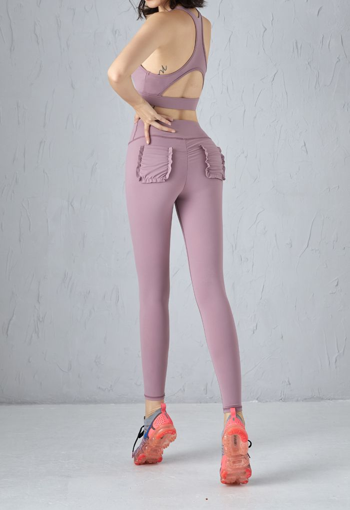 Lace-Up Front Sports Bra and Pockets Leggings Set in Purple