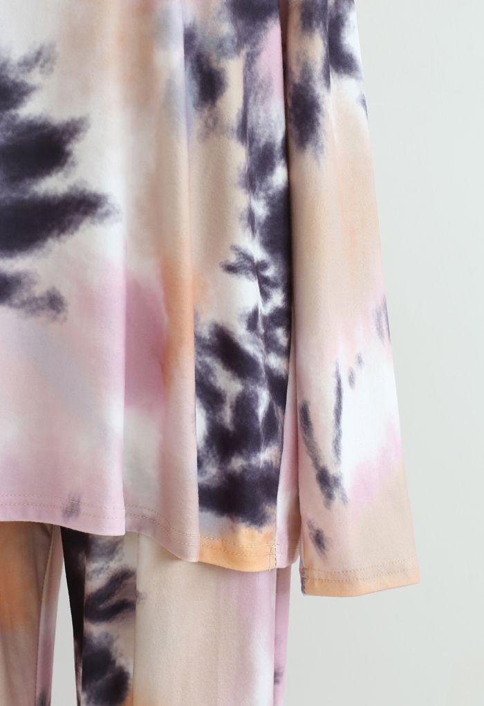 Tie Dye Loose Sweatshirt and Pockets Pants Set in Pink