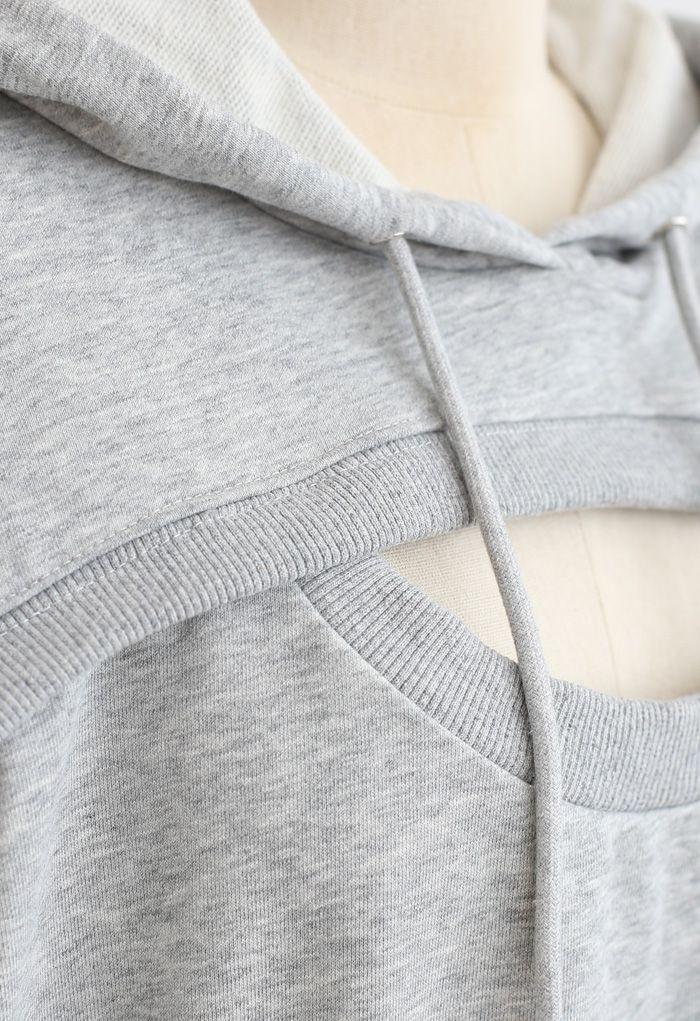 Spliced Cutout Hooded Cropped Sweatshirt in Grey