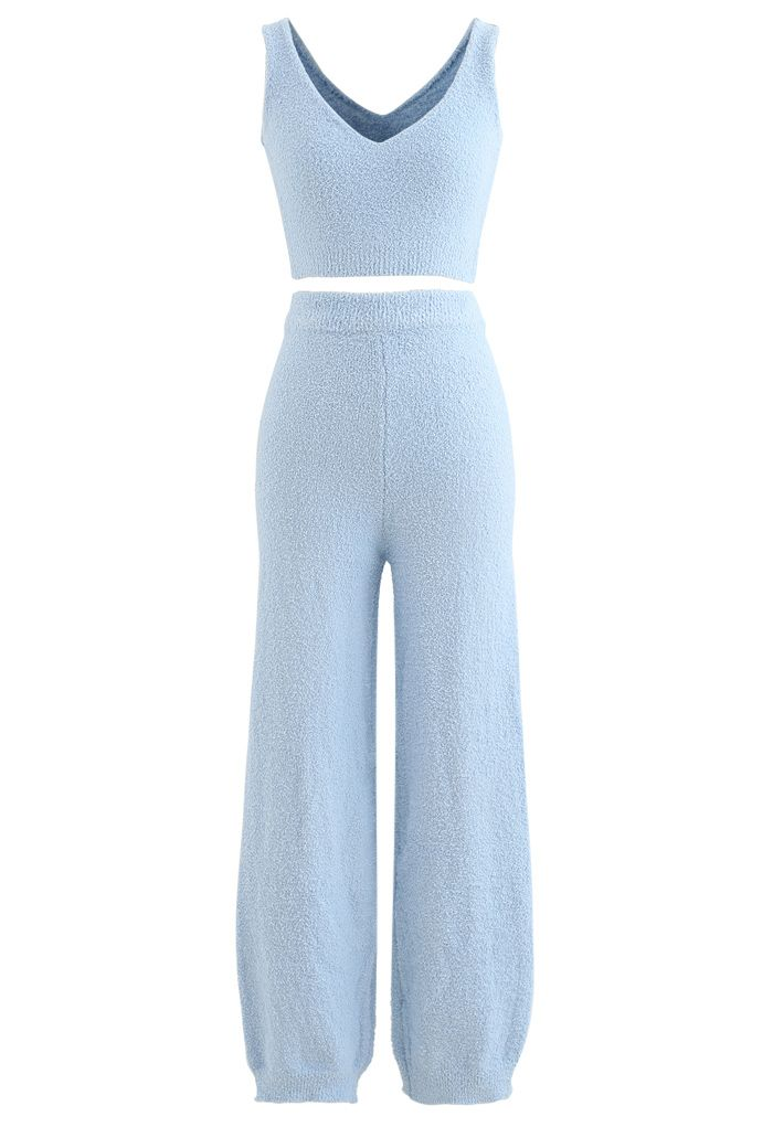 Fluffy Knit Crop Tank Top and Pants Set in Blue