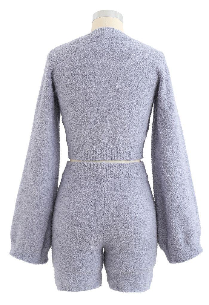 Fluffy Knit V-Neck Crop Top and Shorts Set in Lavender