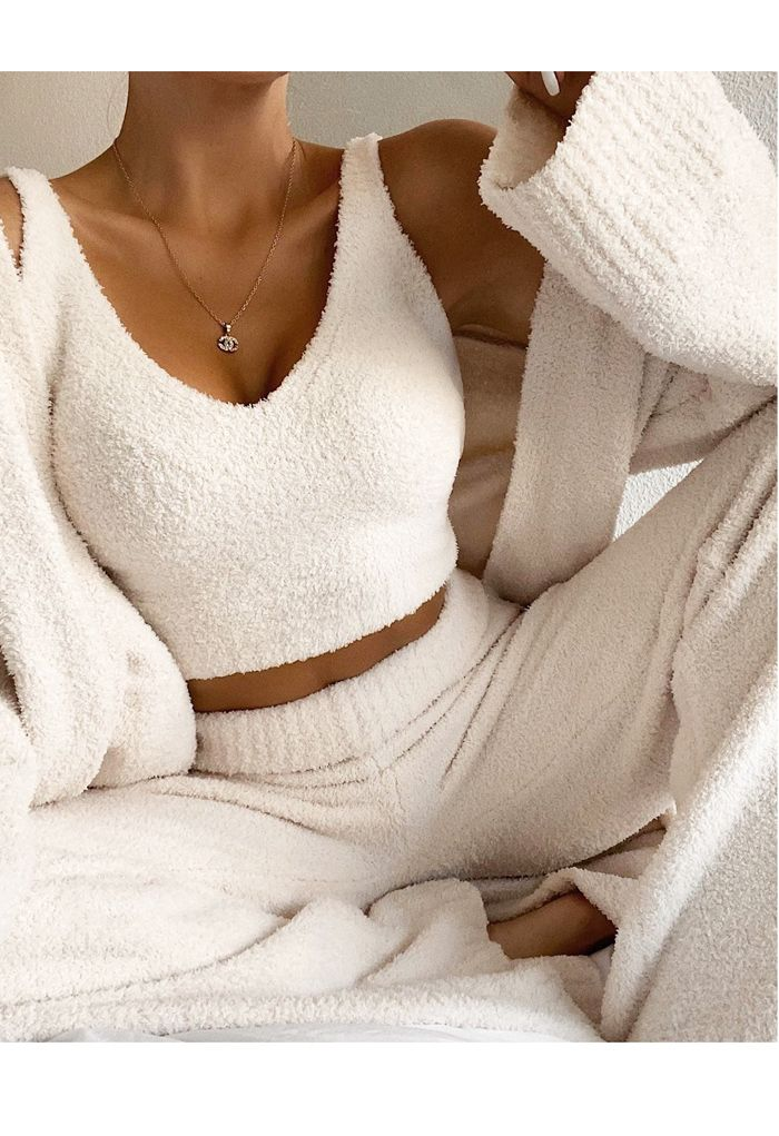 Fluffy Knit Crop Tank Top and Pants Set in Ivory